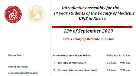 Introductory assembly for the 1st year students of the Faculty of Medicine UPJŠ in Košice