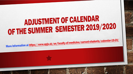 Calendar of the academic year 2019/2020