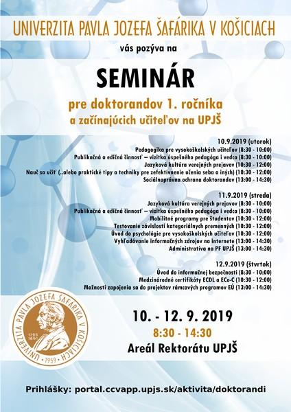 Plagát Seminár doktorandov 2019