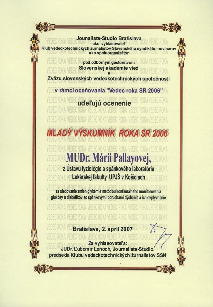 Ocenení študenti a zamestnanci UPJŠ LF v ak. roku 2008 ...